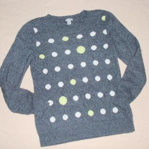 Halogen Cashmere Polka Grey Sweater Pullover PM